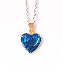 SP113G - PAUA SHELL GOLD NECKLACE HEART - 12 Necklaces (1 dozen) in a packet