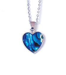 SP113S - PAUA SHELL SILVER NECKLACE HEART- 12 Necklaces (1 dozen) in a packet