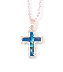 SP149S - PAUA SHELL SILVER NECKLACE STRAIGHT CROSS- 12 Necklaces (1 dozen) in a packet