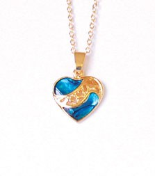 SP1922G - PAUA SHELL GOLD NECKLACE SPLIT HEART- 12 Necklaces (1 dozen) in a packet