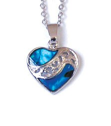 SP1922S - PAUA SHELL SILVER NECKLACE SPLIT HEART- 12 Necklaces (1 dozen) in a packet
