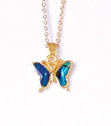 SP193G - PAUA SHELL GOLD NECKLACE BUTTERFLY- 12 Necklaces (1 dozen) in a packet