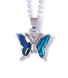 SP193S - PAUA SHELL SILVER NECKLACE BUTTERFLY- 12 Necklaces (1 dozen) in a packet