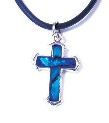 STN154 - PAUA SHELL THONG SMALL CROSS- 12 Necklaces (1 dozen) in a packet