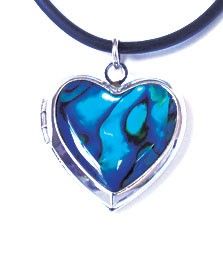 STN6399 - PAUA SHELL THONG HEART LOCKET- 12 Necklaces (1 dozen) in a packet