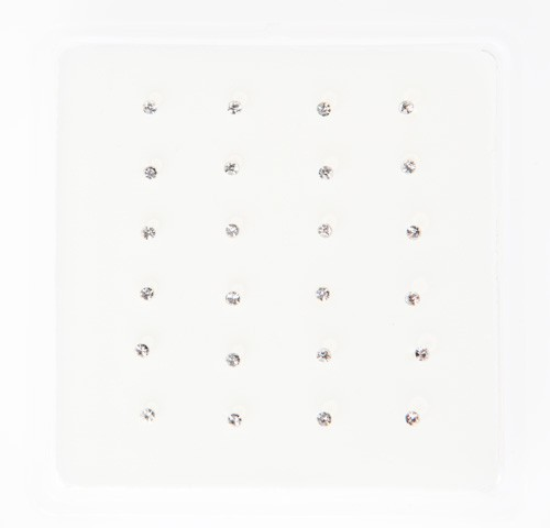 B030 - CRYSTAL NOSE STUDS - ROUND CLEAR - 24 pieces in a display tray