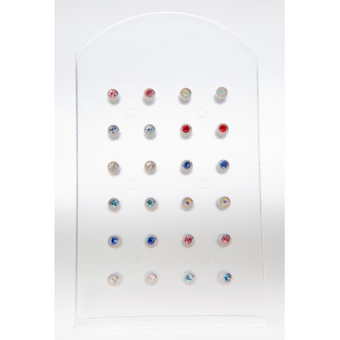 LAB-1 - LABRET - JEWELLED COLOUR - 24 pieces on a display tray