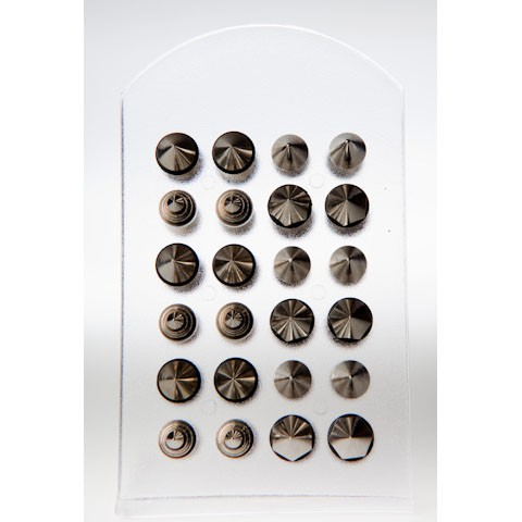 B1003 - FAKE PLUG - SURGICAL STEEL - MIX CONES - 24 pieces (2 dozen) on a display tray