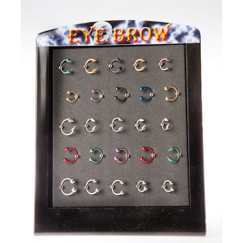 EYE-7 - EYEBROW RINGS - ASSTORTED COLOUR OPEN HOOPS - 25 pieces on a display tray