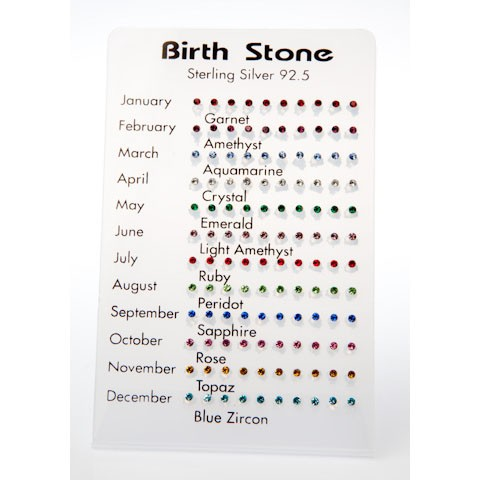 B006 - BIRTH STONE SILVER STUDS - 60 Pairs (5 dozen) on a display tray