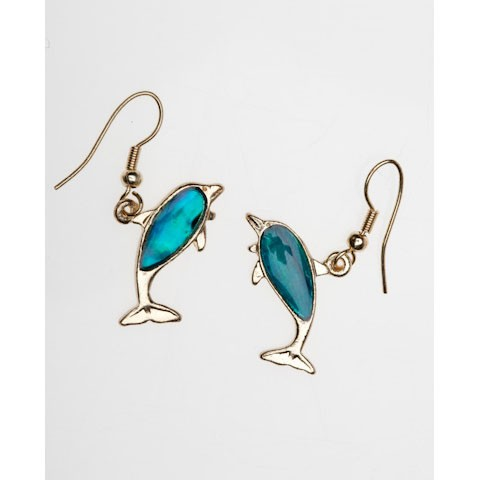 SE273G - PAUA SHELL GOLD EARRINGS DOLPHIN - 12 Pairs (1 dozen) in a packet