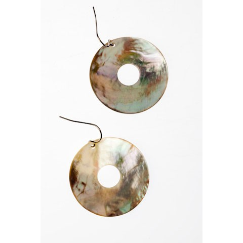 QEC0026 - NATURAL SHELL EARRINGS WHITE CLAM SHELL 40mm DONUT - 12 Pairs (1 dozen) in a packet