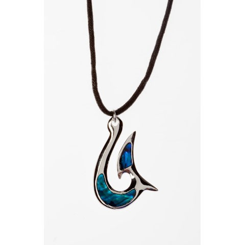 STN5696 - PAUA SHELL THONG NECKLACE FISH HOOK- 12 Necklaces (1 dozen) in a packet