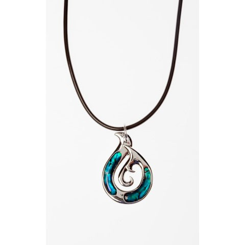 JTN00974 - PAUA SHELL THONG NECKLACE MANAIA- 12 Necklaces (1 dozen) in a packet