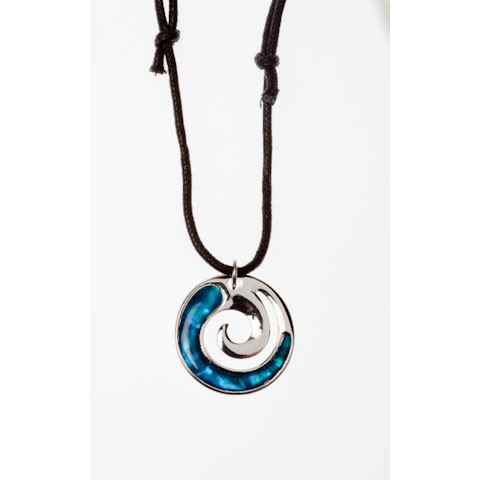 STN5695 - PAUA SHELL THONG NECKLACE CLOSED KORU- 12 Necklaces (1 dozen) in a packet