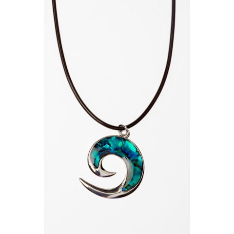 JTN03324 - PAUA SHELL THONG NECKLACE KORU- 12 Necklaces (1 dozen) in a packet