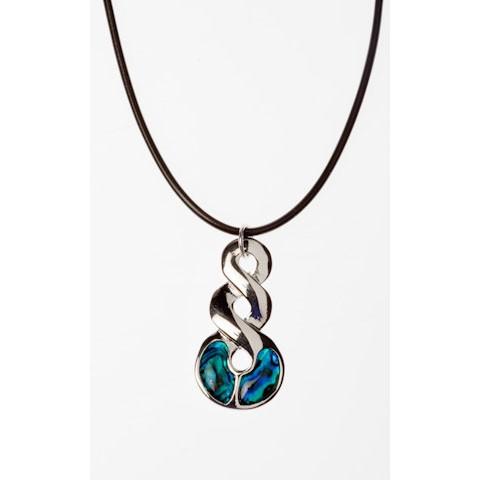 JTN00689 - PAUA SHELL THONG NECKLACE DOUBLE TWIST- 12 Necklaces (1 dozen) in a packet