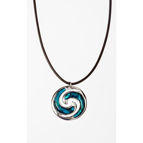 JTN00944 - PAUA SHELL THONG NECKLACE KORU- 12 Necklaces (1 dozen) in a packet