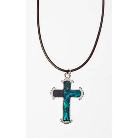 STN1140 - PAUA SHELL THONG LARGE CROSS- 12 Necklaces (1 dozen) in a packet