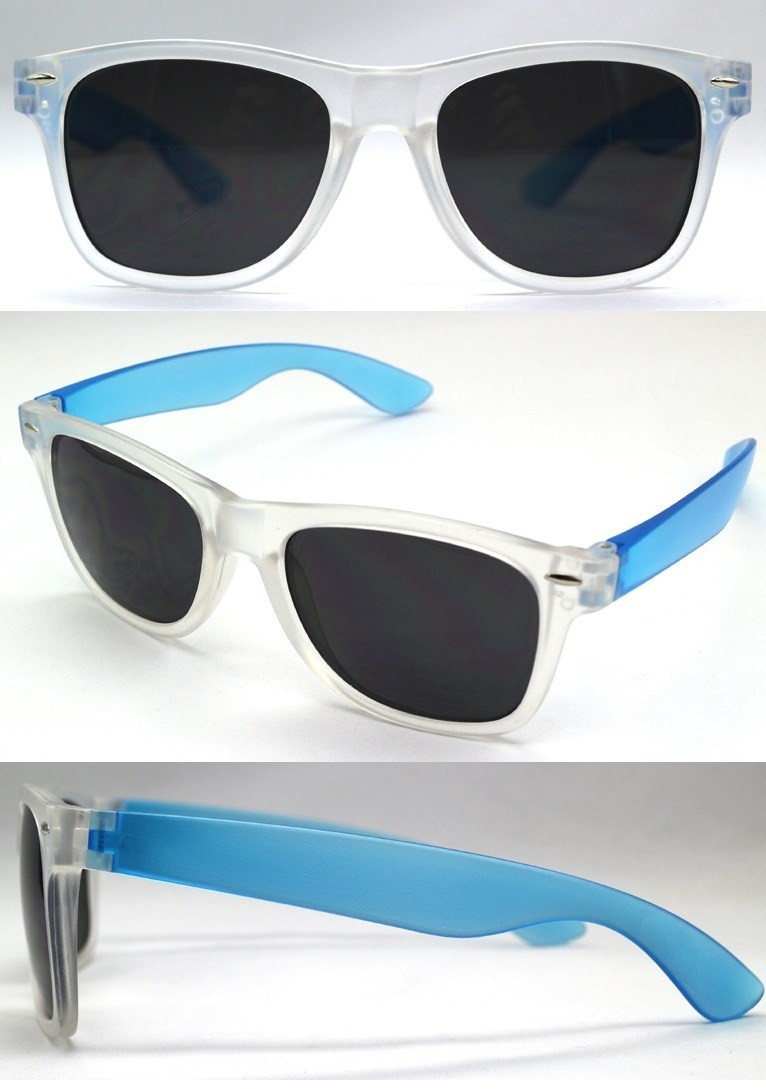 P-060MCC - W/F- CLEAR/BLUE SUNGLASSES - 12 Pairs in a Box
