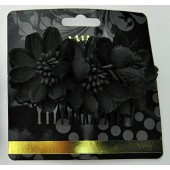 60934B - BLACK FLOWER COMB - 12 (1 doz) combs in a packet