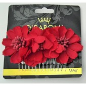 60934R - RED FLOWER COMB - 12 (1 doz) combs in a packet