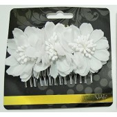 60934W - WHITE FLOWER COMB - 12 (1 doz) combs in a packet