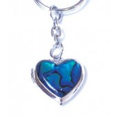 SKE6399 - PAUA SHELL KEYRING HEART LOCKET- 12 Keyrings (1 dozen) in a packet