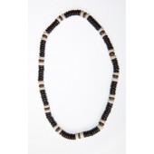 NSFR607A - NECKLACE - black coconut shell - 12 necklaces (1 dozen) in a packet