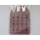 BNL1016 - BELLY BANANA'S - SURGICAL STEEL - 12 pairs on a display- Mixed designs
