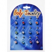 BNBLYC - BELLY BANANAS - SURGICAL STEEL COLOUR JEWEL - 12 pieces on a display tray