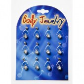 BNABLY - BELLY BANANAS - SURGICAL STEEL CLEAR JEWEL - 12 pieces on a display tray