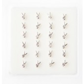 B002 - CRYSTAL NOSE STUDS - BUNNY CLEAR -  24 pieces in a display tray
