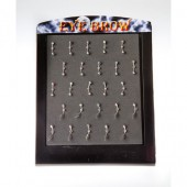 EYE-1 - EYEBROW BARS - ASSORTED BANANA JEWEL - 25 pieces on a display tray