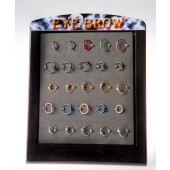 EYE-6 - EYEBROW RINGS - ASSTORTED COLOUR CLOSED HOOPS - 25 pieces on a display tray