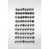 5001 - A - BLING EARRINGS - ROUND LARGE CLEAR - SPECIAL PRICE - 36 Pairs (3 dozen) on a display tray