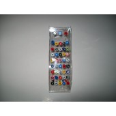 BRB1020- SPECIAL PRICE - TONGUE BARS - SURGICAL STEEL - Coloured design - 43 pieces on a stand