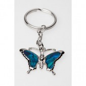 SKE196 - PAUA SHELL KEYRING LARGE BUTTERFLY- 12 Keyrings (1 dozen) in a packet