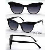 P-9886  - BLACK /SMOKE GRADIENT CATEYE - 12 pairs in a box.