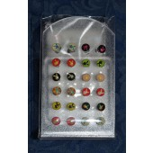 SES1301 - 6mm STAINLESS STEEL STUDS. Coloured Print. - 12 pairs on a display stand