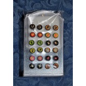 SES1303 - SPECIAL PRICE  - 6mm STAINLESS STEEL STUDS. Coloured Print. - 12 pairs on a display stand