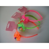 SOS-3676 - NEON HEADBAND - FLOWERS - 3 ASSTD COLOURS - 12 (1doz) in a packet