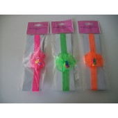 SOS-6573 -STRETCHY  NEON HEADBAND - FLOWERS - 3 ASSTD COLOURS - 12 (1doz) in a packet